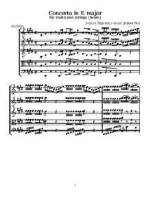 Konzert für Violine, Streicher und Basso Continuo Nr.2 in E-Dur, BWV 1042: Partitur by Johann Sebastian Bach
