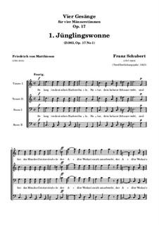 Vier Lieder für vier Männerstimmen, D.983 Op.17: Nr.1 Jünglingswonne by Franz Schubert