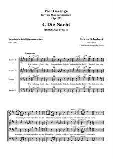 Vier Lieder für vier Männerstimmen, D.983 Op.17: Nr.4 Die Nacht by Franz Schubert