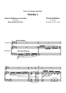Suleika I, D.720 Op.14 No.1: Für hohe Stimme und Klavier by Franz Schubert