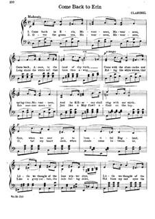 Come Back to Erin: Für Klavier by Claribel