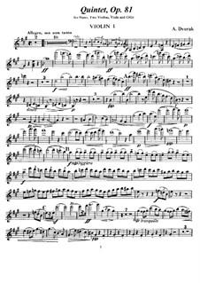 Klavierquntett Nr.2 in A-Dur, B.155 Op.81: Violinstimme I by Antonín Dvořák