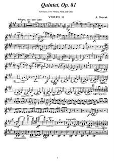 Klavierquntett Nr.2 in A-Dur, B.155 Op.81: Violinstimme II by Antonín Dvořák