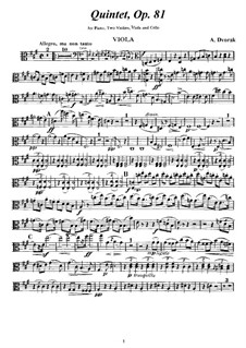 Klavierquntett Nr.2 in A-Dur, B.155 Op.81: Violastimme by Antonín Dvořák
