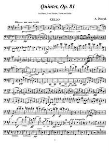Klavierquntett Nr.2 in A-Dur, B.155 Op.81: Cellostimme by Antonín Dvořák
