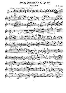 Streichquartett Nr.12 in F-Dur 'Americký', B.179 Op.96: Stimmen by Antonín Dvořák