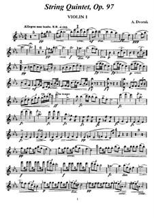 Streichquintett No.3 in Es-Dur 'Americký', B.180 Op.97: Stimmen by Antonín Dvořák