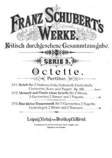 Oktett für Streicher und Bläser in F-Dur, D.803 Op.166: Vollpartitur by Franz Schubert