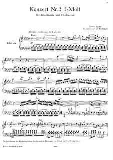 Konzert für Klarinette und Orchester in f-Moll, WoO 19: Version für Klarinette und Klavier by Louis Spohr