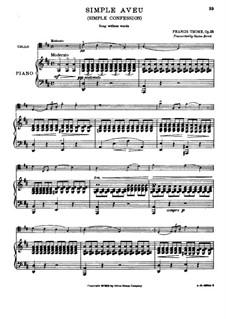 Simple aveu, Op.25: Für Cello und Klavier by Francis Thomé