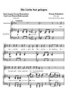Die Liebe hat gelogen, D.751 Op.23 No.1: Für hohe Stimme und Klavier by Franz Schubert