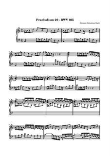 Präludium und Fuge Nr.20 in a-Moll, BWV 865: Für Keyboard by Johann Sebastian Bach