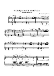 Sonate für Klavier Nr.6, Op.10 No.2: Teil I (Allegro) by Ludwig van Beethoven