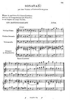 Sonate für zwei Violinen und Cello Nr.6: Sonate für zwei Violinen und Cello Nr.6 by Giovanni Battista Bassani