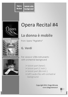 La donna è mobile (Over the Summer Sea): Sheet music and audiofile of orchestral accompaniment by Giuseppe Verdi