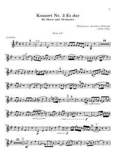 Konzert für Horn und Orchester Nr.3 in Es-Dur, K.447: Solostimme by Wolfgang Amadeus Mozart