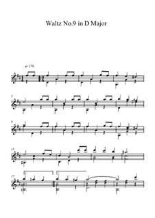 Sechzehn Walzer: Walzer Nr.9, für Gitarre by Johann Strauss (Sohn)