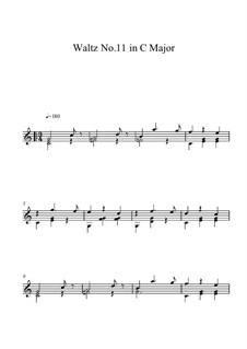 Sechzehn Walzer: Walzer Nr.11, für Gitarre by Johann Strauss (Sohn)