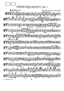 Streichquartett Nr.1 in A-Dur: Violastimme I by Alexander Porfiryevich Borodin