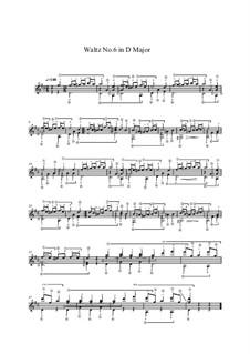 Sechzehn Walzer: Walzer Nr.6, für Gitarre by Johann Strauss (Sohn)