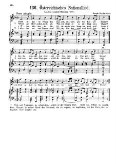 Österreische Nationalhymne, Hob.XXVIa/43: Klavierauszug mit Singstimmen by Joseph Haydn
