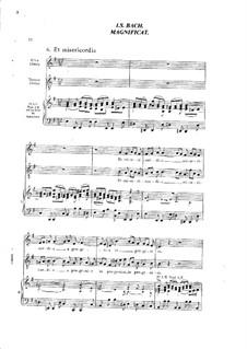 Magnificat in D-Dur, BWV 243: Et misericordia, für Stimmen und Klavier by Johann Sebastian Bach