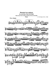 Sonate für Flöte in a-Moll, H 562 Wq 132: Für einen Interpreten by Carl Philipp Emanuel Bach
