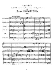 Sextett in Es-Dur, Op.81b: Vollpartitur by Ludwig van Beethoven