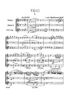 Trio für zwei Oboen und Englischhorn, Op.87: Vollpartitur by Ludwig van Beethoven