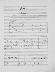 Jeux (Games), L.126: Für Klavier by Claude Debussy