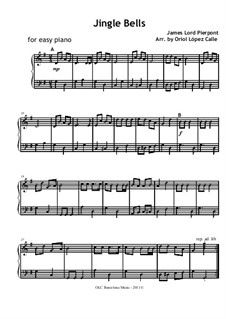 Jingle Bells, for Piano: For easy version by James Lord Pierpont