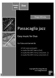 Duet pack No.1 (easy): Passacaglia jazz: For flute and clarinet (sheet+mp3 duet+mp3 minus clarinet+mp3 minus flute) by Diego Minoia