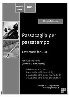 Duet pack No.2 (easy): Passacaglia per passatempo: For C instrument (sheet+mp3 duet+mp3 minus instrument 2+mp3 minus instrument 1) by Diego Minoia