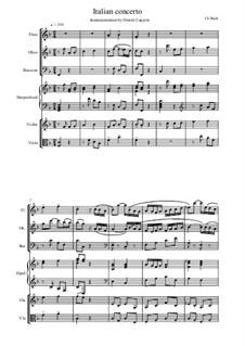 Italienischen Konzert, BWV 971: Teil I. Bearbeitung für Flöte, Oboe, Fagott, Cembalo, Violine und Bratsche by Johann Sebastian Bach