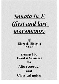 Sonata in F (first and last movements): For recorder, flute or violin and guitar by Diogenio Bigaglia