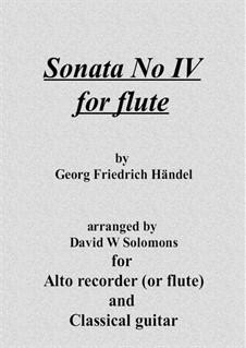 Sonate für Flöte und Cembalo in C-Dur, HWV 365 Op.1 No.7: Version for flute (or recorder) and guitar by Georg Friedrich Händel