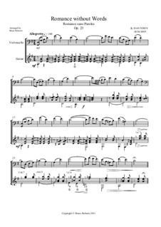 Romanze ohne Worte, Op.23: Cello difficult and guitar moderate by Karl Dawidow
