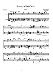 Romanze ohne Worte, Op.23: Cello difficult and guitar difficult by Karl Dawidow