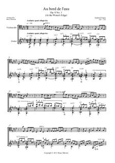 Drei Lieder, Op.8: No.1 Au bord de l'eau (At the Water's Edge) for cello and guitar by Gabriel Fauré