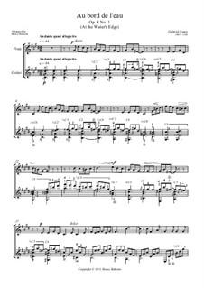Drei Lieder, Op.8: No.1 Au bord de l'eau (At the Water's Edge) for flute and guitar by Gabriel Fauré