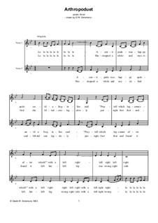 Arthropoduet – (a centipede was happy quite...) for two voices a cappella: Arthropoduet – (a centipede was happy quite...) for two voices a cappella by David W Solomons