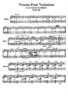Vierundzwanzig Variationen über Arietta 'Venni Amore' von Righini, WoO 65: Für Klavier by Ludwig van Beethoven