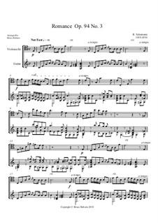 Drei Romanzen für Oboe (oder Violine) und Klavier, Op.94: Romance No.3. Version for Cello and Guitar by Robert Schumann