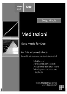Meditazioni: Duo for flute (or Instruments in C) and piano (or harp) with audio files demo full and minus one by Diego Minoia