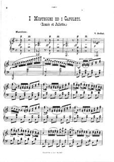 Die Capulets und die Montague: Ausgewählte Melodien, für Klavier by Vincenzo Bellini