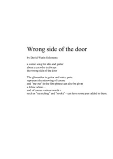 Wrong side of the door, alto and guitar: Wrong side of the door, alto and guitar by David W Solomons