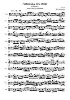 Partita für Violine Nr.2 in d-Moll, BWV 1004: Bearbeitung für Bratsche by Johann Sebastian Bach