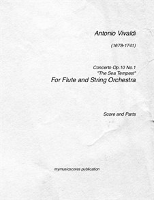 Six Flute Concertos for Flute, Strings and Cembalo, Op.10: Concerto No.1 'The Sea Tempest' – score, parts, RV 433 by Antonio Vivaldi