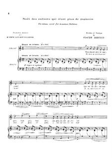 Noël des enfants qui n'ont plus de maison (Christmas Carol for Homeless Children), L.139: Klavierauszug mit Singstimmen by Claude Debussy