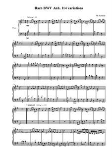 Bach BWV Anh. 114 minuet variations, MVWV 663: Bach BWV Anh. 114 minuet variations by Maurice Verheul
